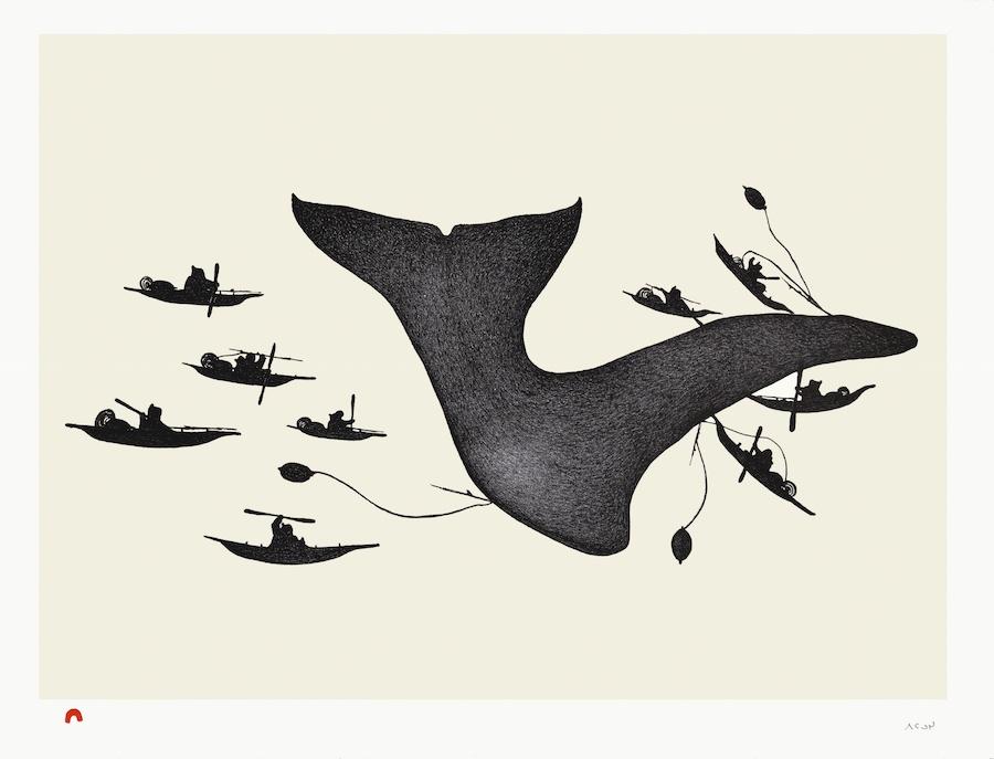 Pitaloosie Saila Lithograph 20 x 26 epic whale hunt inuit print cape dorset