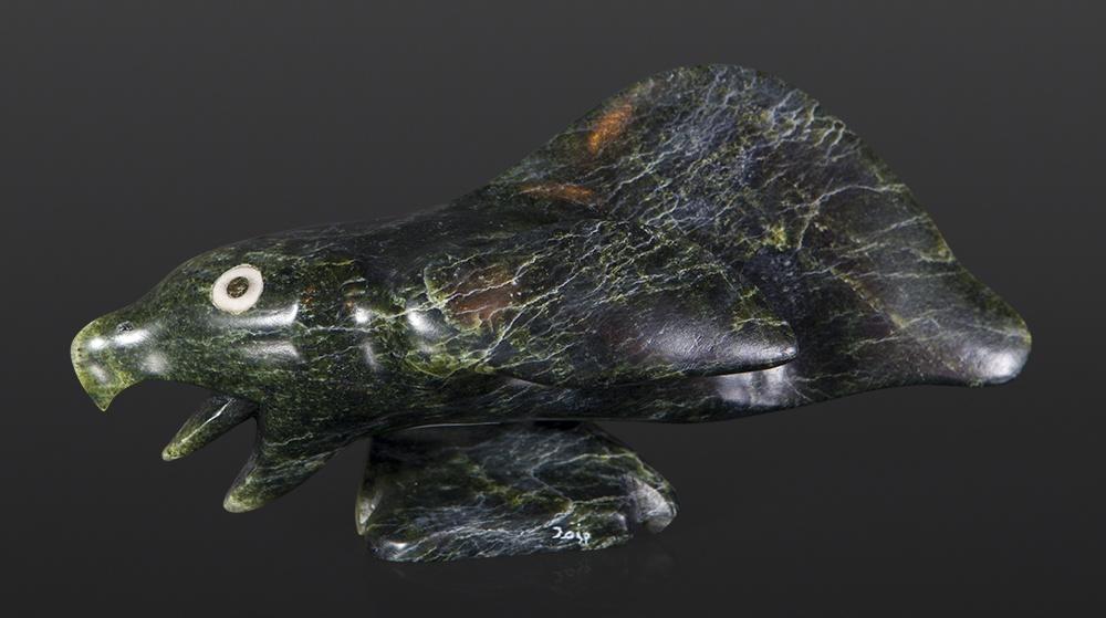 Spirit Bird Toonoo Sharkey Inuit Serpentine, bone 8 x 3 x 4 intui sculpture stone cape dorset