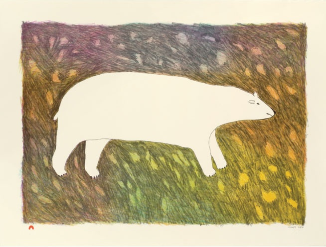 Papiara Tukiki Inuit Lithograph 22.5H x 30W tundra bear inuit print cape dorset
