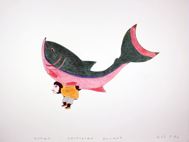 Ohotaq Mikkigak 2010 Ink, colored pencil 20 x 25 ½ Big Catch fish inuit original drawing cape dorset