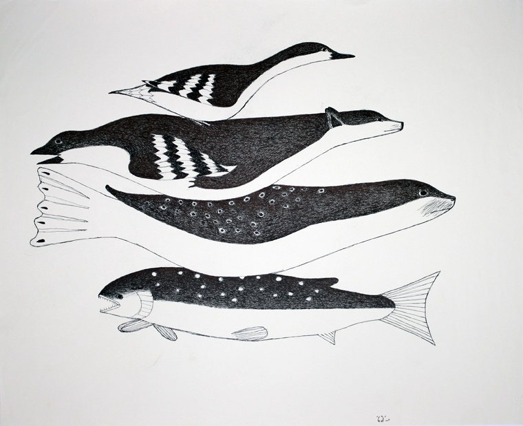 Kakulu Saggiaktok 2006 Ink 20 x 26 950 Bounty inuit original drawing cape dorset