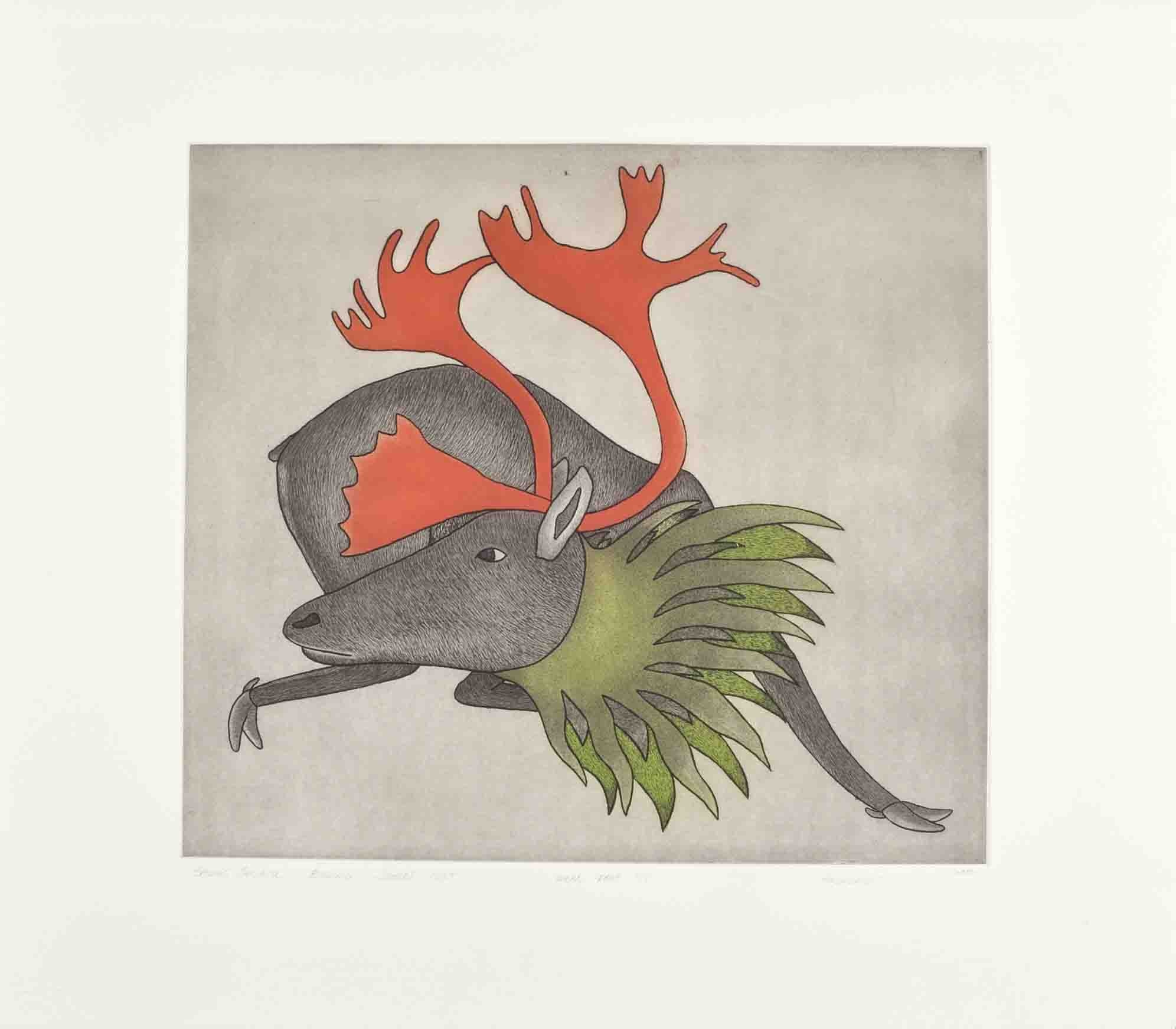Kavavaow Mannomee Cape Dorset Inuit Etching and aquatint 24 x 27 1200 spring caribou 1995