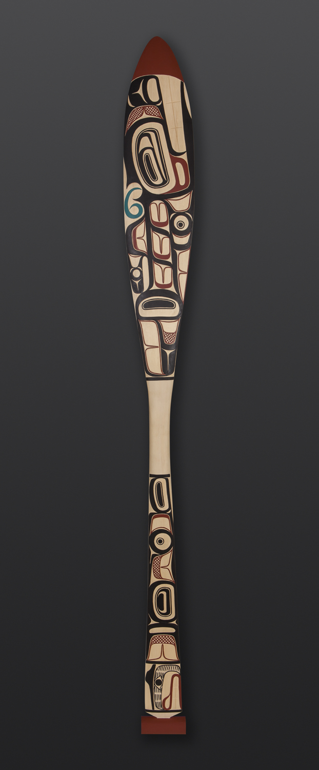 Killer Whale Paddle David Boxley Tsimshian Yellow cedar, paint 60 x 6 3600 northwest coast native art salmon fine art carved