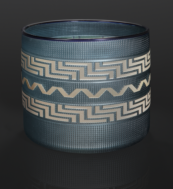 blue berry basket Preston Singletary Tlingit Blown & sand-carved glass 8 x 9 8000 berry basket northwest coast native art glass blowing glass artist seattle