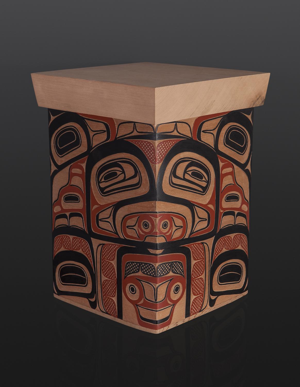"Trade Box David Boxley Tsimshian red cedar, paint 10 3/4"" x 11 "" x 15 1/4"" 3500 bentwood sculpture wood northwest coast native art formline"