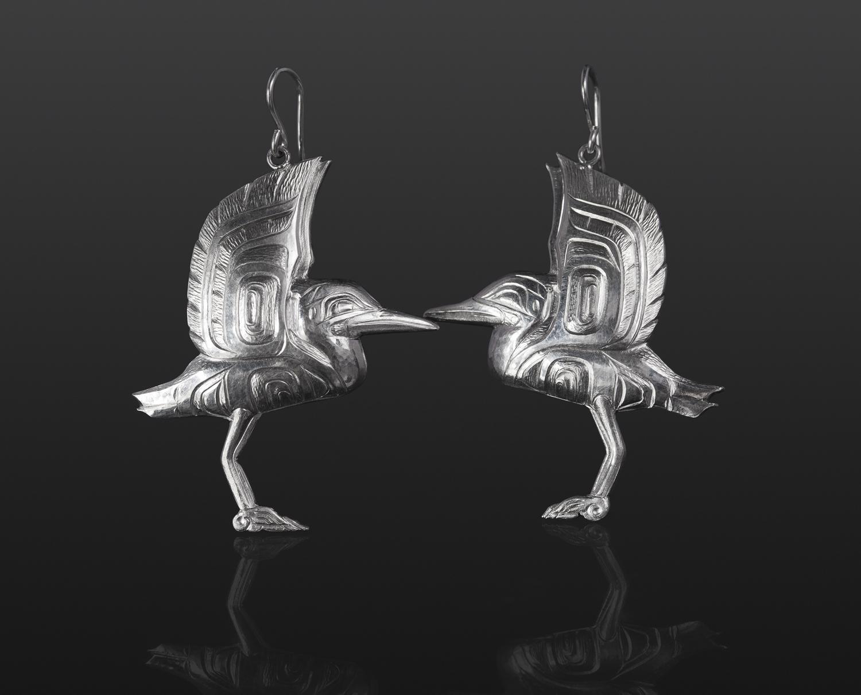 heron earrings bird in flight Gus Cook Kwakwaka'wakw silver Repoussé jewelry native art northwest coast 2 x 1 1/2 1200