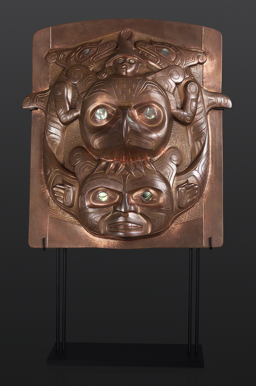 copper frontlet abalone custom stand Gus Cook Kwakwaka'wakw silver Repoussé jewelry native art northwest coast