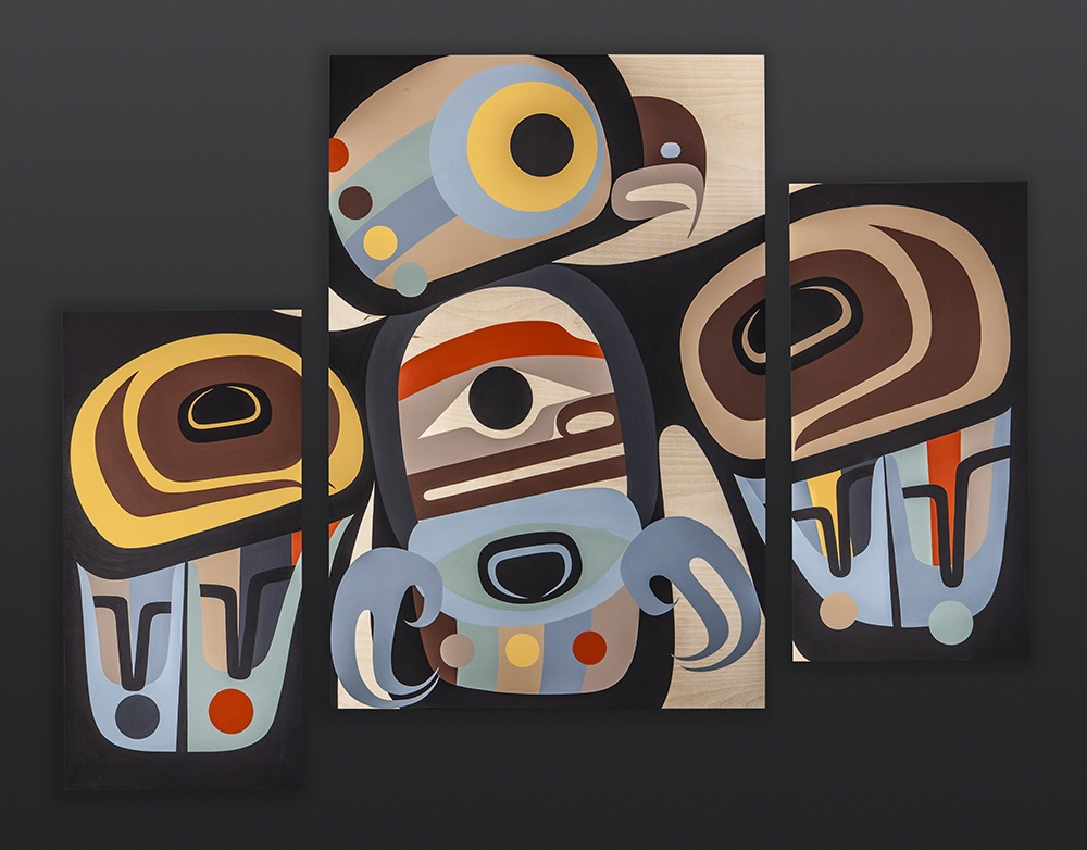 "the wise one Steve Smith - Dla'kwagila Oweekeno Acrylic on birch panel Triptych 48"" x 36"" owl contemporary northwest coast native art"