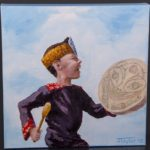 Jean Taylor – Tlingit Painting on canvas Happy drummer boy northwest coast