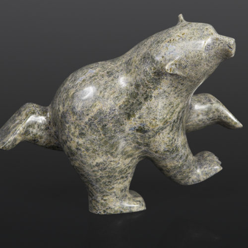 Dancing Polar Bear Ashevak Adla Inuit Serpentine 11 x 8 x 3½ inuit sculpture carving stone