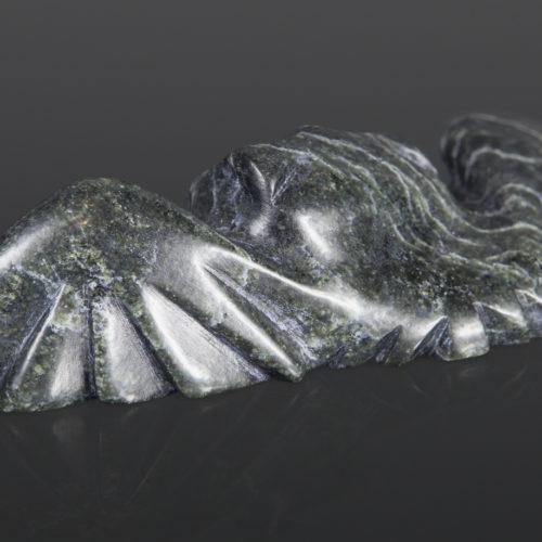 Hiding Owl Joanasie Manning Inuit Serpentine, bone, baleen 6 x 1½ x 2 inuit sculpture carving stone cape dorset