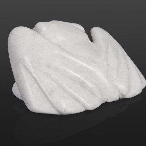 Little Owl Joanasie Manning Inuit Marble, bone, baleen 6 ½ x 3 x 4 ½ inuit sculpture cape dorset stone