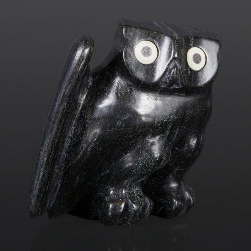Owl Joanasie Manning Inuit Serpentine, bone, baleen 5 x 4½ x 3½ inuit sculpture carving cape dorset stone