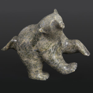 Dancing Polar Bear Ashevak Adla Inuit Serpentine 11 x 8 x 3½ inuit sculpture carving stone