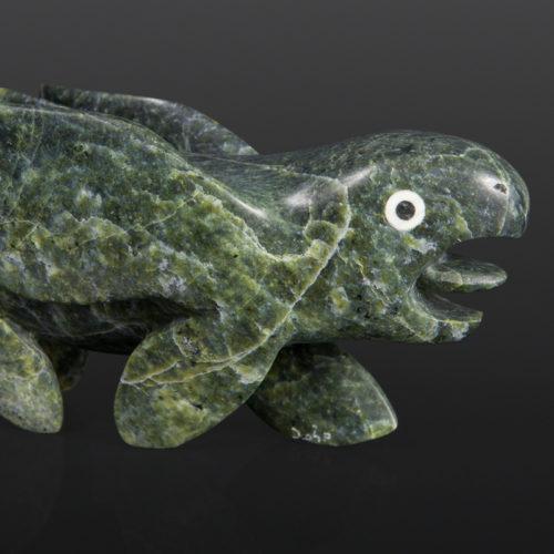 first fish transformation Toonoo Sharky Inuit Serpentine, bone, baleen 10 x 4 x 3 1500 Inuit sculpture cape dorset stone bird