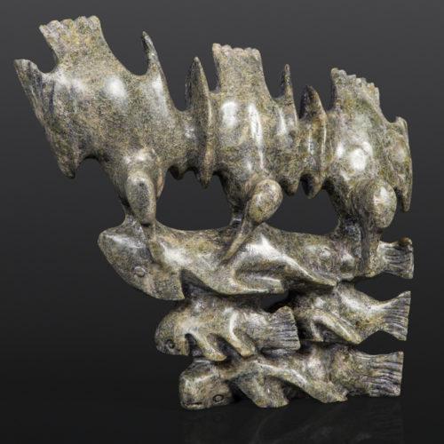 Birds Diving for Fish Pavinak Petaulassie Inuit Serpentine 8 x 7 x 1½ 580 cape dorset inuit sculpture stone