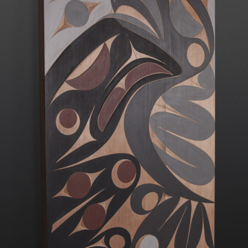 Raven and Seagull panel Andy Peterson Coast Salish Cedar panel, paint 31 x 21 2200 northwest coast native art