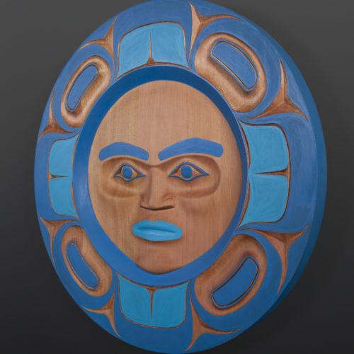 Watchful Moon Yul Baker Coast Salish Red cedar, paint 24 x 2 3200 kwakwaka'wakw nuu chah nulth native art northwest coast blue moon