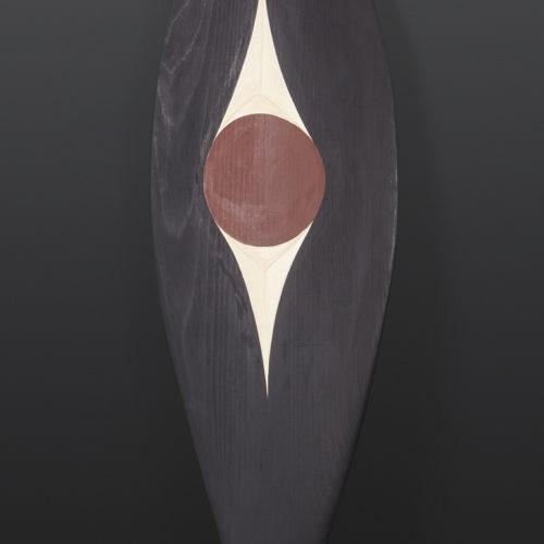 Red Tailed Hawk Paddle Andy Peterson Coast Salish Yellow cedar, paint 49x 8 1000 northwest coast native art