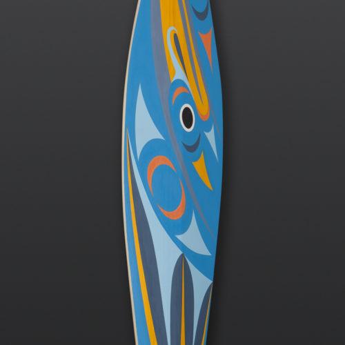 Blue Heron Paddle Maynard Johnny Jr Coast Salish Cedar, paint 63 x 7 2500 northwest coast native art mordern contemporary