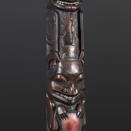 Eagle Bear Totem Preston Singletary Tlingit Patinaed Bronze 25 x 4.5 x 2.5 4500 glass artist modern art sculpture totem pole copper native art northwest coast