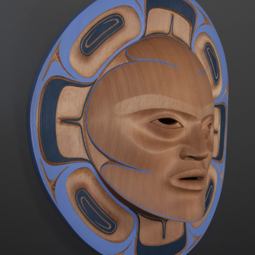 "blue summer moon mask Klatle-Bhi Kwakwaka'wakw red cedar, paint 18"" x 5"" 8800 mask moon northwest coast fine art native art"