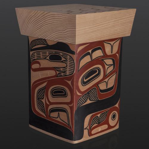 "Bentwood Box David Boxley Tsimshian red cedar, paint 8.25"" x 8"" x 11.25"" 2400 sculpture wood carved northwest coast native art"