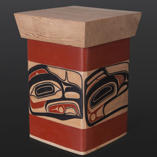 "Four Clans Bentwood Box David Boxley Tsimshian red cedar, paint 8.25"" x 8"" x 11.25"" 2400 sculpture wood carved northwest coast native art"