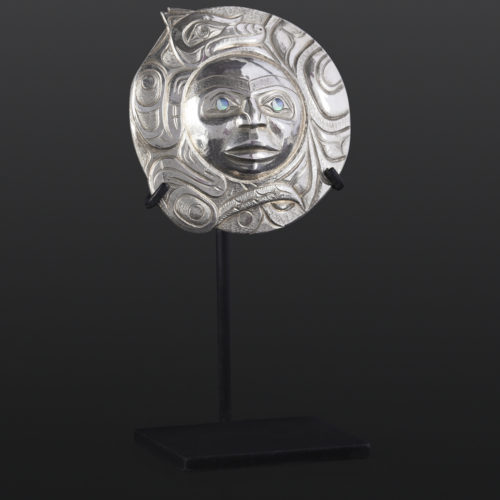 Wolf and Moon pendant Gus Cook Kwakwaka'wakw silver Repoussé jewelry pendant abalone native art northwest coast 1 3/4 x 1 3/4 1850