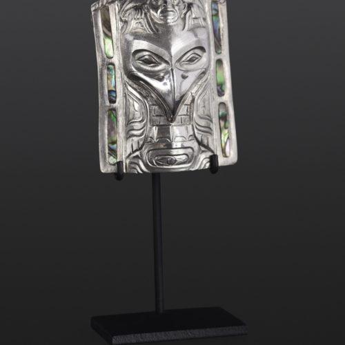 raven frontlet pendant Gus Cook Kwakwaka'wakw abalone silver Repoussé jewelry pendant native art northwest coast 2 x 1 1/2 2500