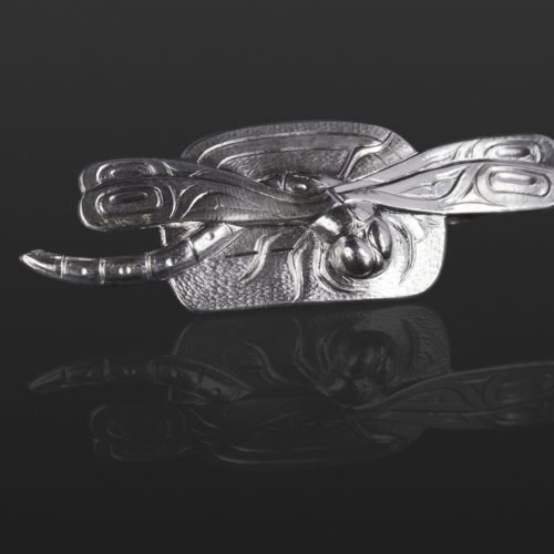 dragonfly pendant Gus Cook Kwakwaka'wakw silver Repoussé jewelry pendant native art northwest coast 2 1/2 x 1 1050