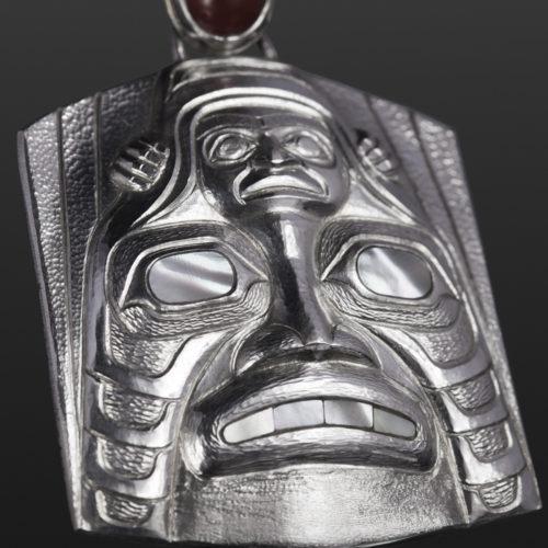 Shark Dogfish pendant Gus Cook Kwakwaka'wakw Carnelion silver Repoussé jewelry pendant native art northwest coast shark human 2 1/2 x 2 2100