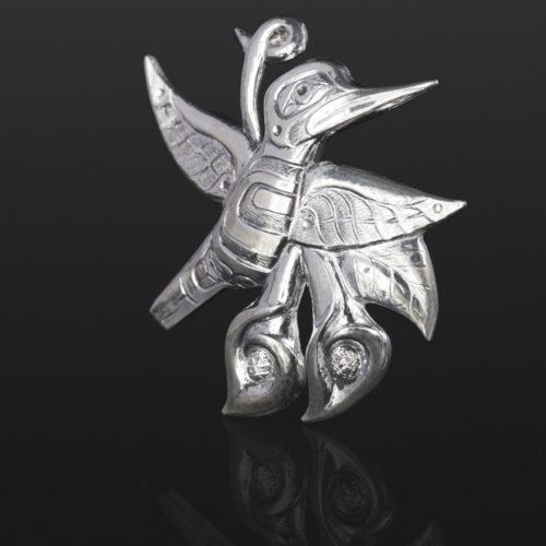 hummingbird and lily pendant Gus Cook Kwakwaka'wakw silver Repoussé jewelry pendant custom native art northwest coast 2 x 2 1300