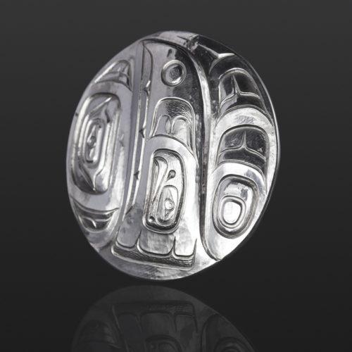 whale raven fin pendant Gus Cook Kwakwaka'wakw silver Repoussé jewelry native art northwest coast 2 x 2 1200