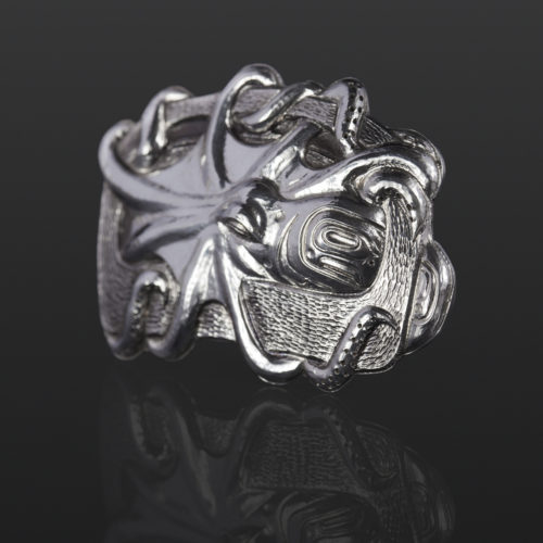 octopus in ovoid pendant Gus Cook Kwakwaka'wakw silver Repoussé jewelry native art northwest coast 2 1/4 x 1 1/2 1400