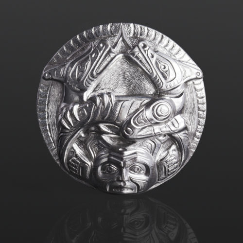 sisiutl pendant serpent wolf Gus Cook Kwakwaka'wakw silver Repoussé jewelry native art northwest coast 2 1/2 x 2 1/2 2800