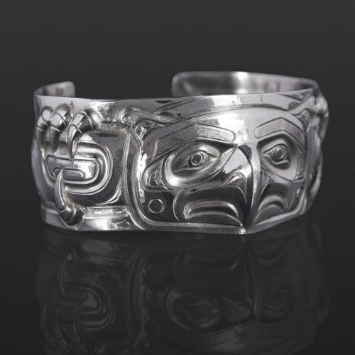 thunderbird bracelet custom stand Gus Cook Kwakwaka'wakw silver Repoussé jewelry native art northwest coast 6 x 1 2600