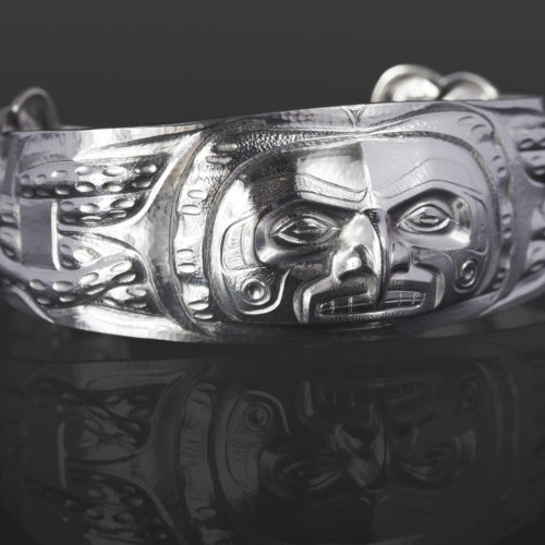 octopus bracelet custom stand Gus Cook Kwakwaka'wakw silver Repoussé jewelry native art northwest coast 6 1/2 x 1 2400