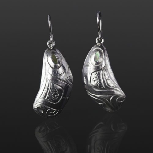 mussel shell earrings Gus Cook Kwakwaka'wakw silver Repoussé jewelry native art northwest coast 1 x 1/2 750 abalone