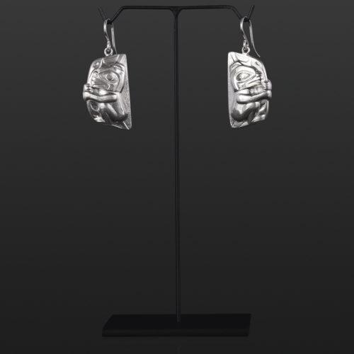 bear cub earrings Gus Cook Kwakwaka'wakw silver Repoussé jewelry native art northwest coast 1 x 1/2 1100