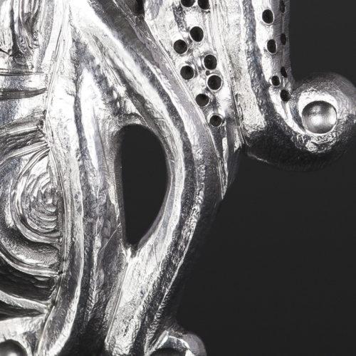 octopus earrings earrings Gus Cook Kwakwaka'wakw silver Repoussé jewelry earrings native art northwest coast 1 1/4 x 1 1/4 1500