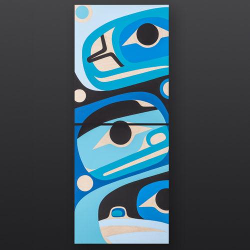 Blue Harmony Steve Smith Dla'kwagila Oweekeno Birch panel, paint 16 x 40 2400 original painting diptych northwest coast modern native art
