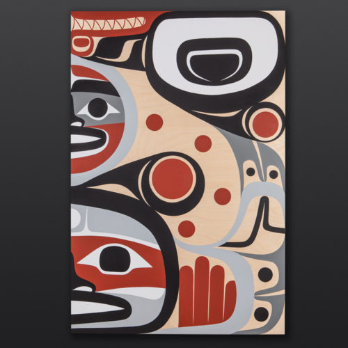 Sisiutl Steve Smith Dla'kwagila Oweekeno Birch panel, paint 24 x 36 3000 original painting northwest coast native art modern art