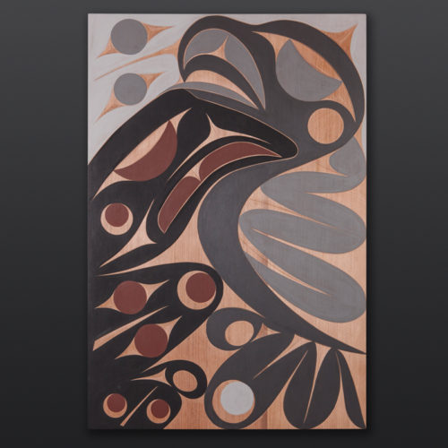 Raven and Seagull panel Andy Peterson Coast Salish Cedar panel, paint 31 x 21 2200 northwest coast native art