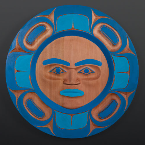 Watchful Moon Yul Baker Coast Salish Red cedar, paint 24 x 2 3200 kwakwaka'wakw nuu chah nulth native art northwest coast blue moon