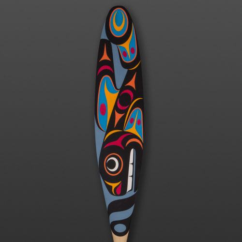 whale and seal paddle maynard Johnny jr coast salish yellow cedar, paint modern art native northwest coast orca