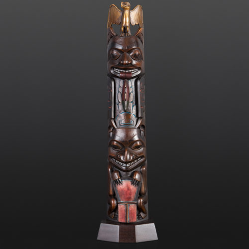 Eagle Bear Totem Preston Singletary Tlingit Patinaed Bronze 25 x 4.5 x 2.5 4500 glass artist modern art sculpture totem pole copper native art northwest coast