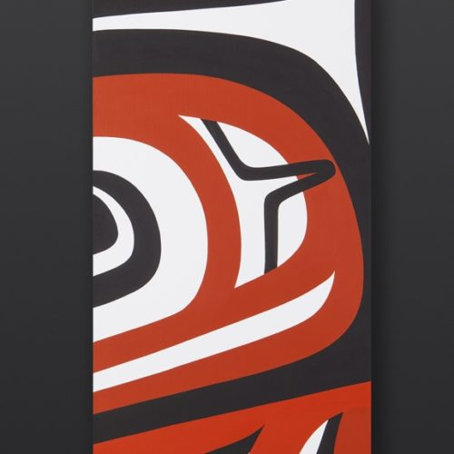Reflection Steve Smith Dla'kwagila Oweekeno Birch panel, paint 30 x 8 x 5 3400 northwest coast original painting sculpture native art modern