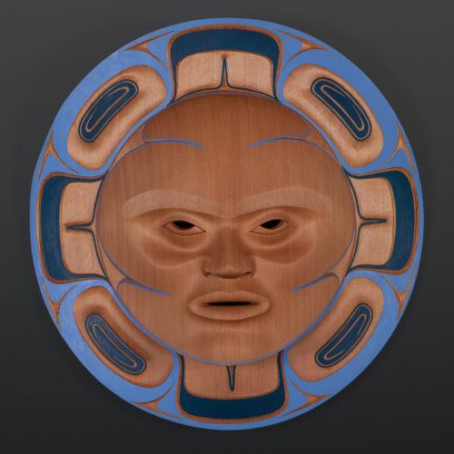 "blue summer moon mask Klatle-Bhi Kwakwaka'wakw red cedar, paint 18"" x 5"" 8800 mask moon northwest coast fine art native art"