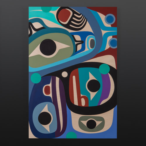 Happiness Steve Smith Dla'kwagila Oweekeno birch panel, paint 24 x 36 northwest coast native art wolf raven human